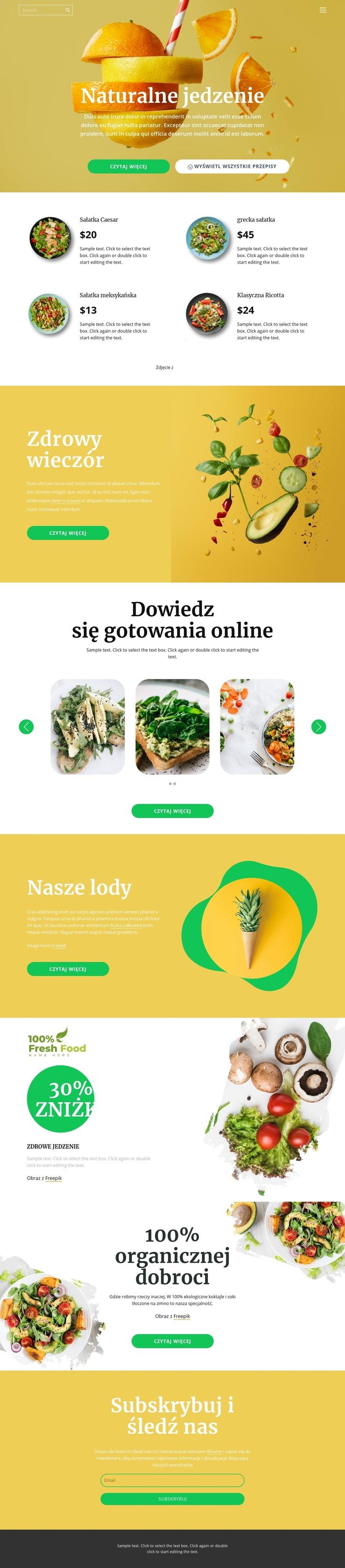 Pyszne i zdrowe jedzenie Szablon witryny sieci Web