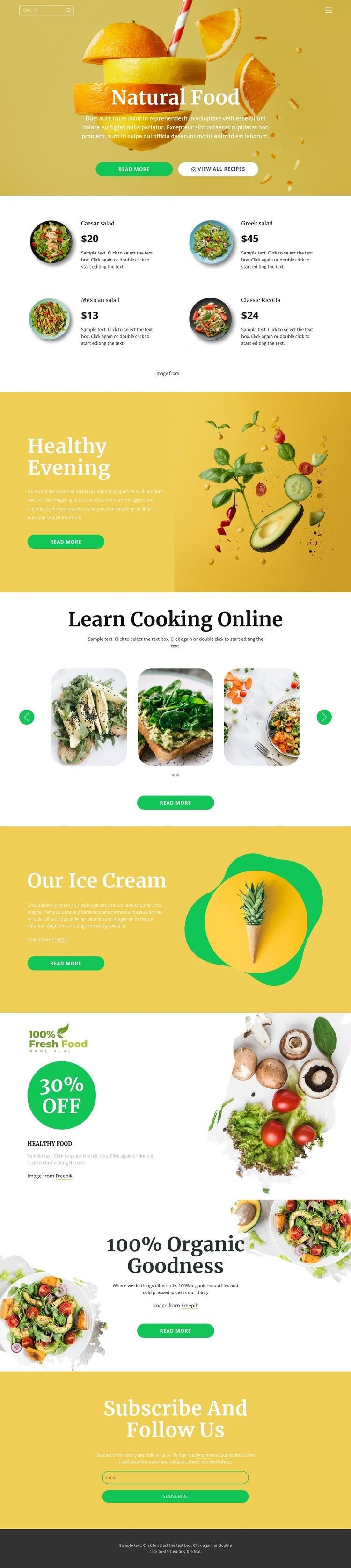 Delicious and healthy food Web Page Designer