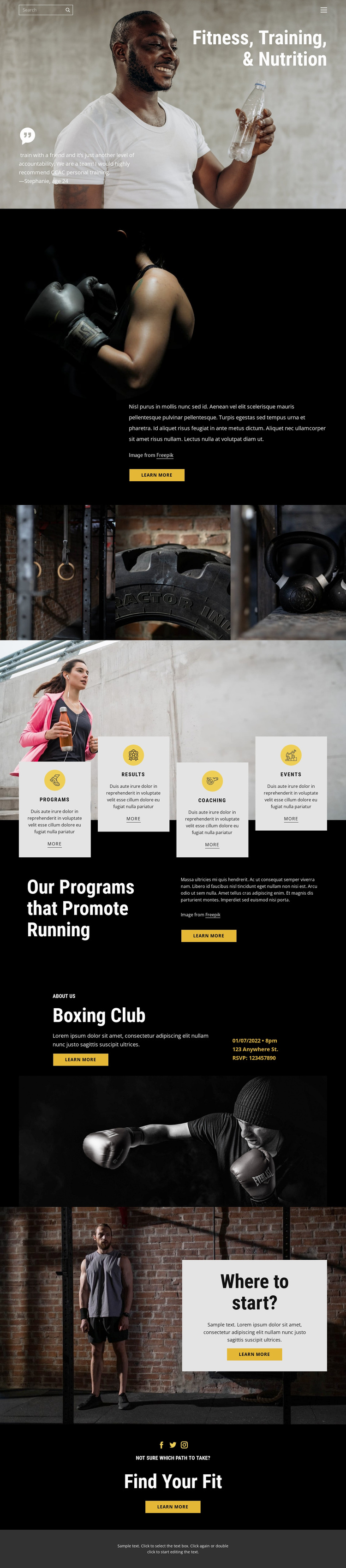 Kickboxing and crossfit Website Template