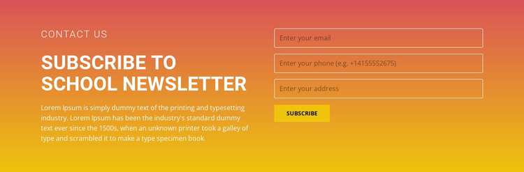 Subscribe to the newsletter HTML Template