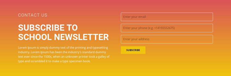 Subscribe to the newsletter Joomla Template