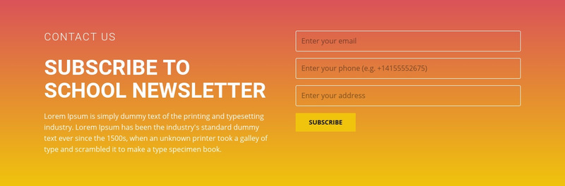 Subscribe to the newsletter Web Page Design