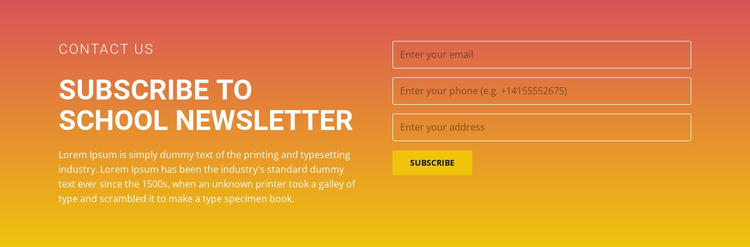 Subscribe to the newsletter Website Mockup