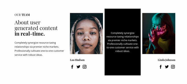 About user generated content Website Template