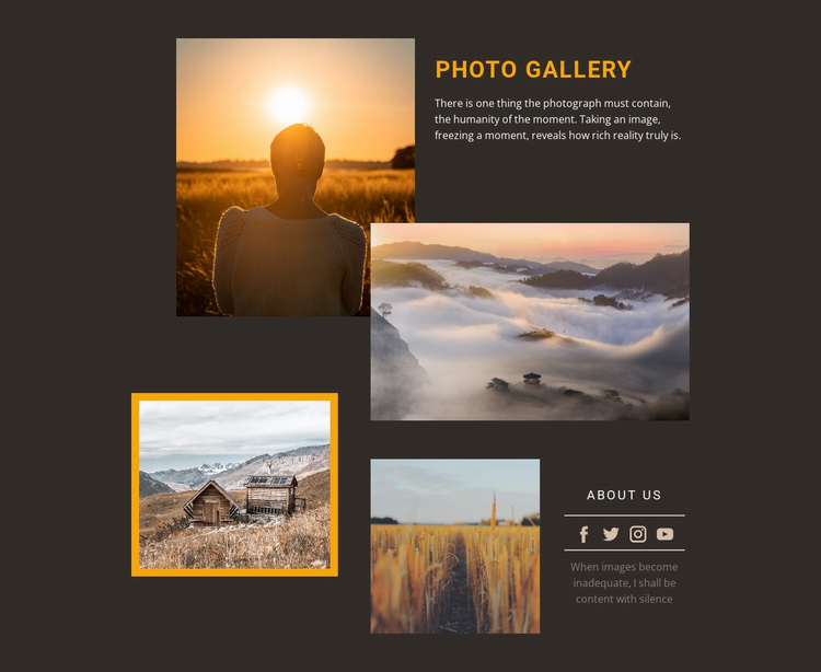 Photography workshops Joomla Page Builder