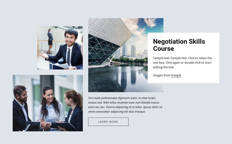 Negotiation skills courses HTML Template