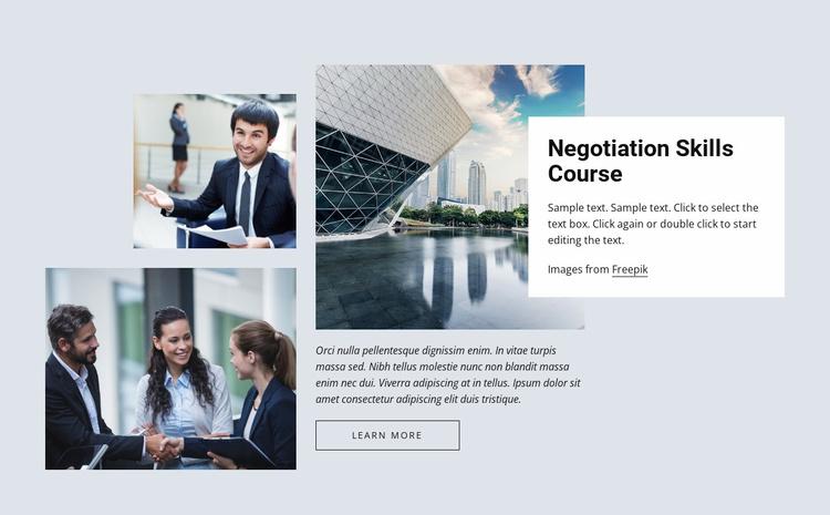Negotiation skills courses Website Template