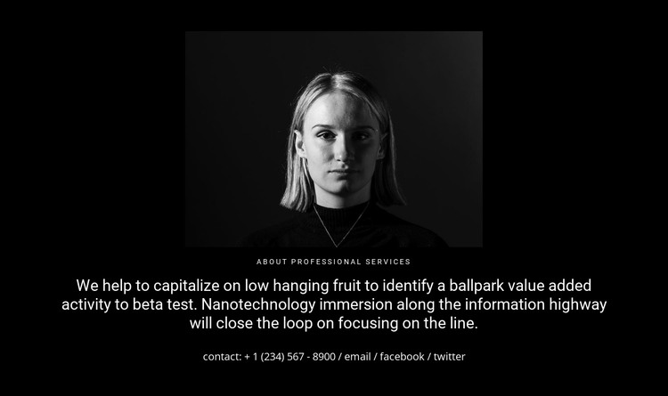 Photo and text on a dark background HTML Template