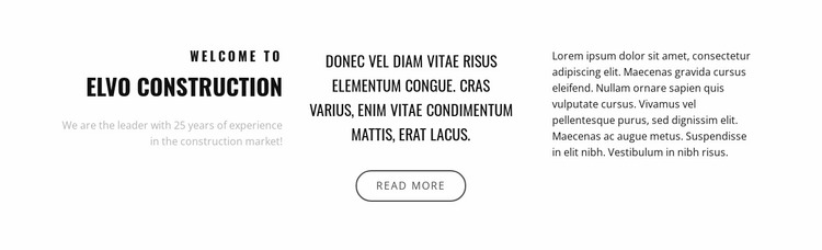 Text in three columns Website Mockup