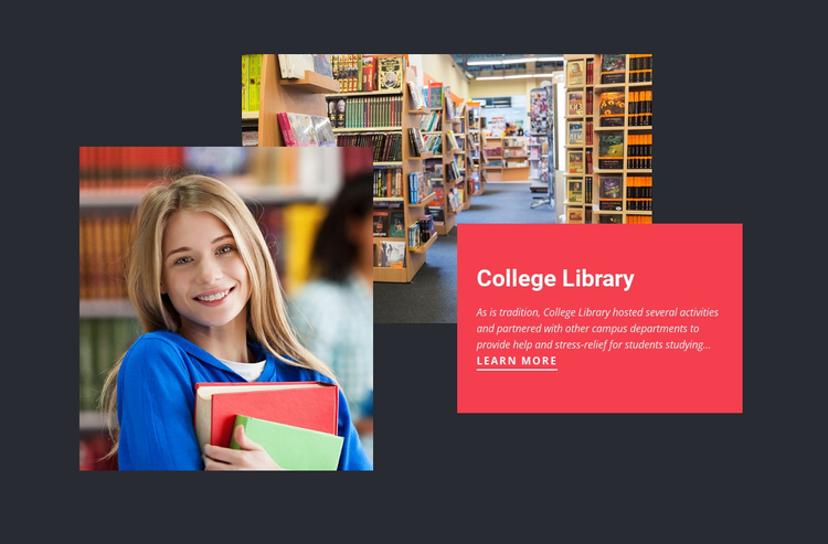 College library One Page Template