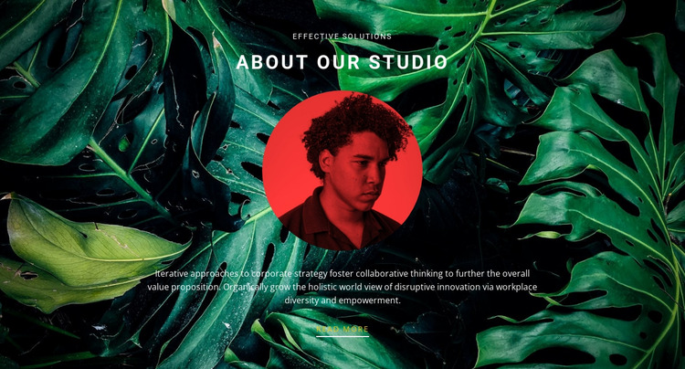 About studio on green background Html Website Builder