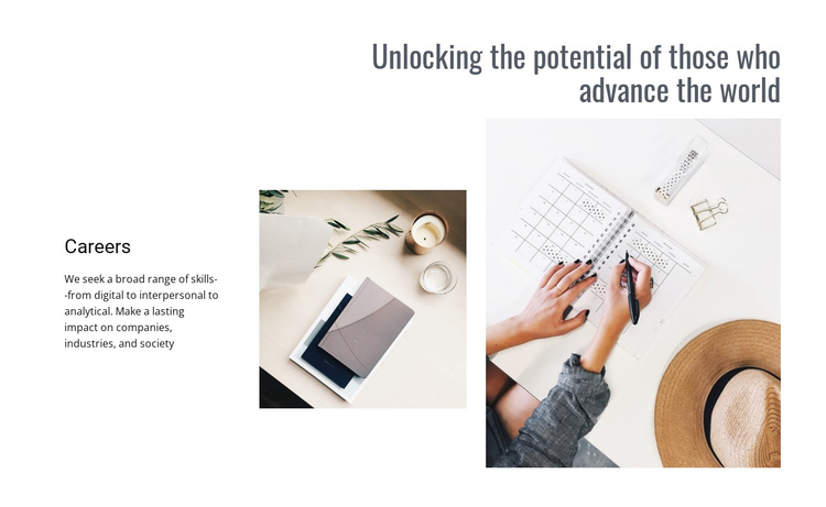 Unlocking your potential One Page Template