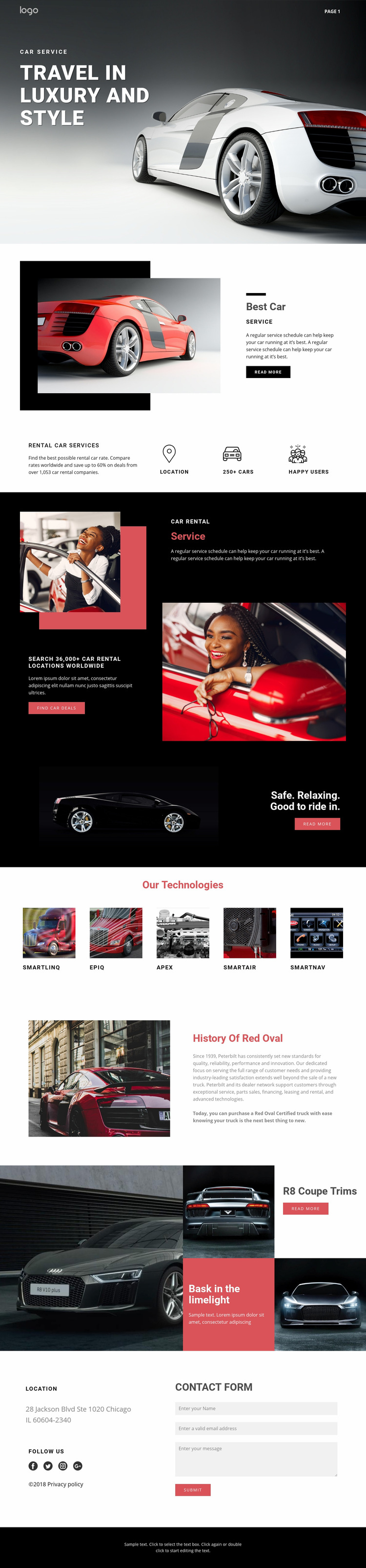 Traveling in luxury cars Web Page Design