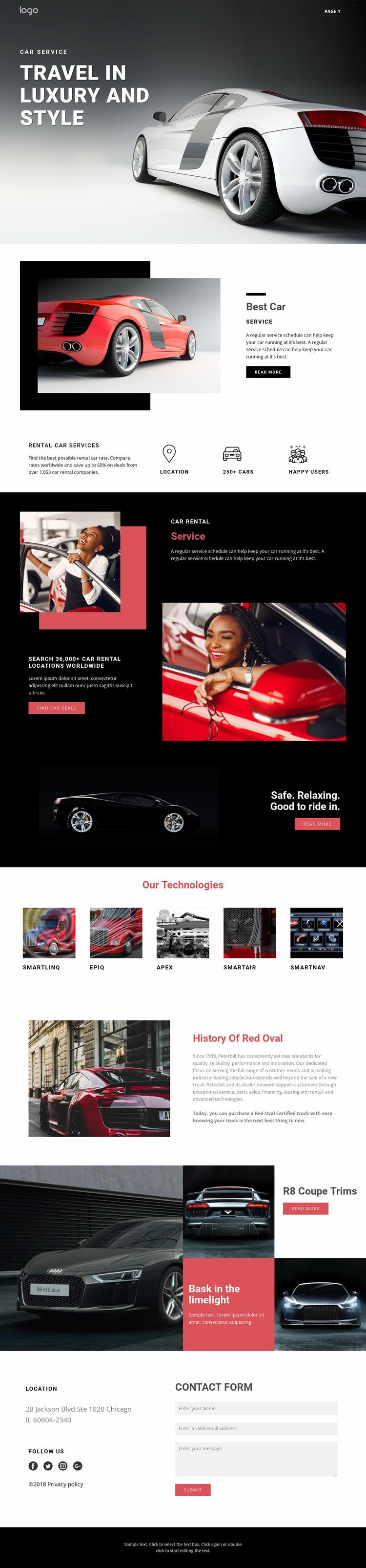 Traveling in luxury cars Website Mockup