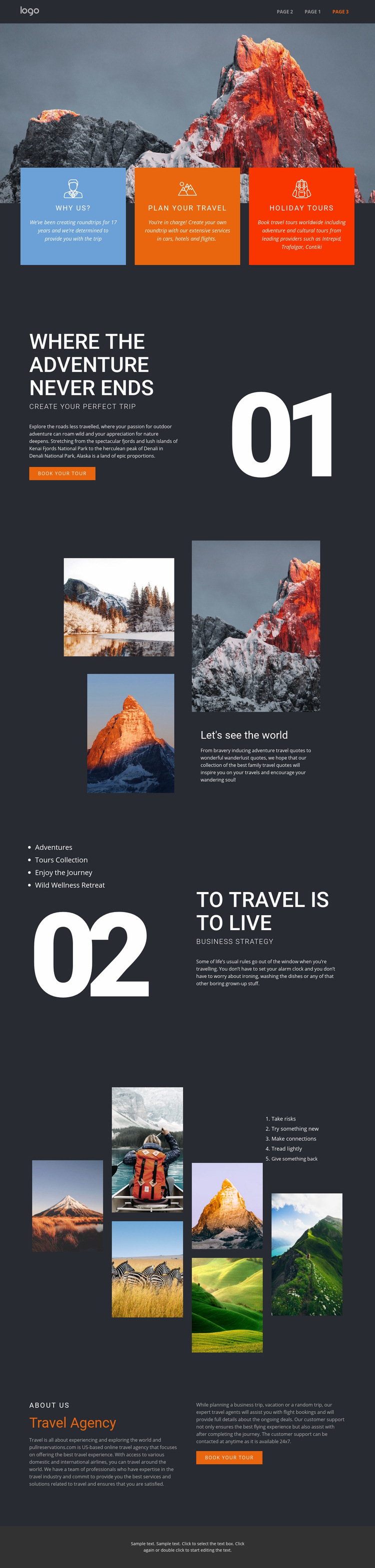 Mountain beauty in travel Web Page Design
