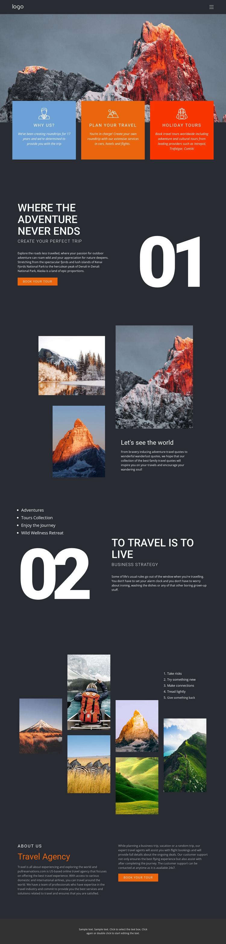 Mountain beauty in travel Website Design