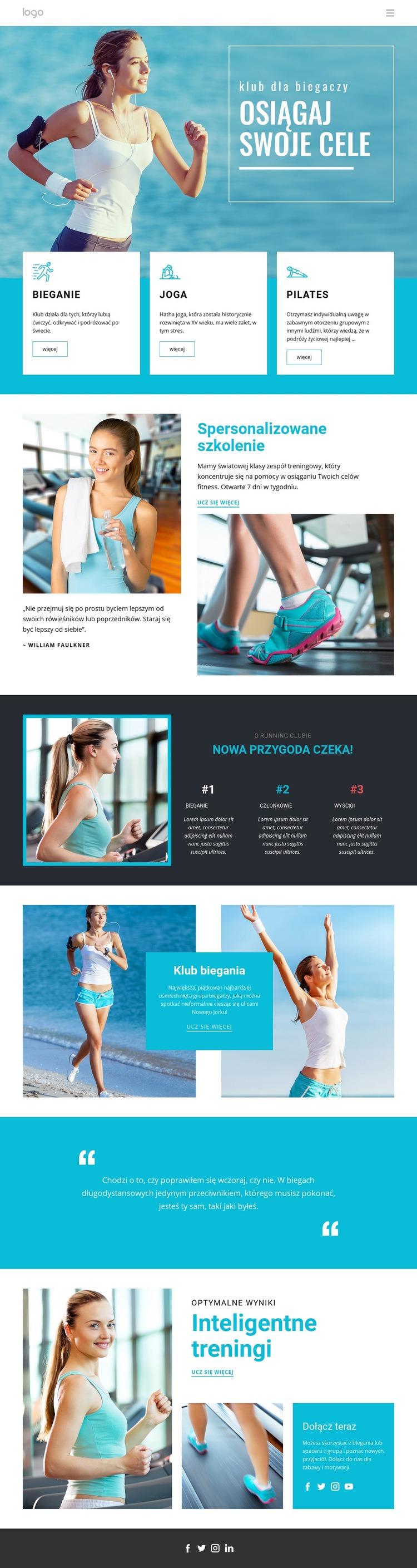Osiągaj swoje cele sportowe Szablon witryny sieci Web