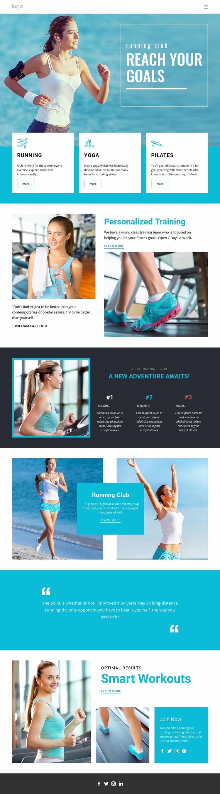 Reach Your Sport Goals Website Mockup
