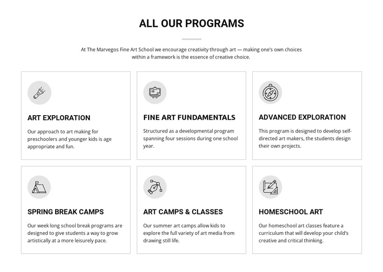 All art programs for kids One Page Template