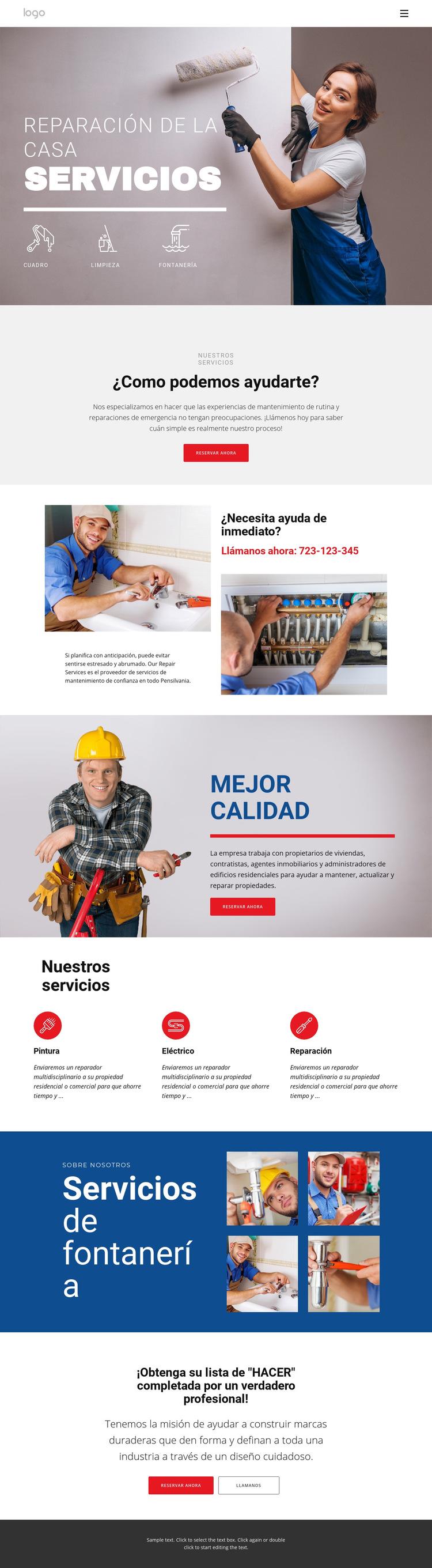 Reparación y construcción de viviendas Plantilla de sitio web