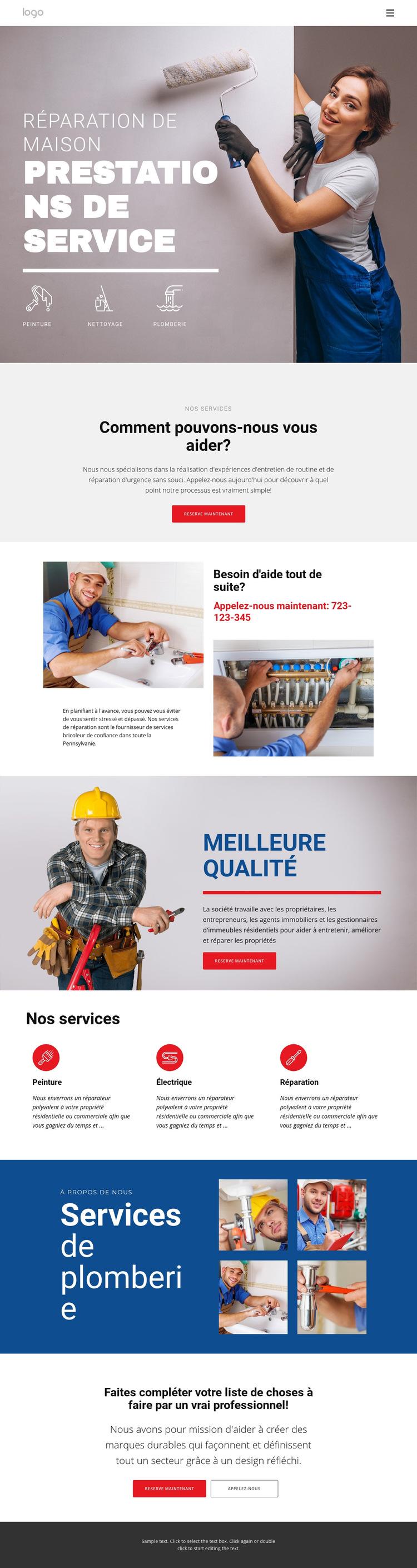Réparation et construction de maison Modèle de site Web