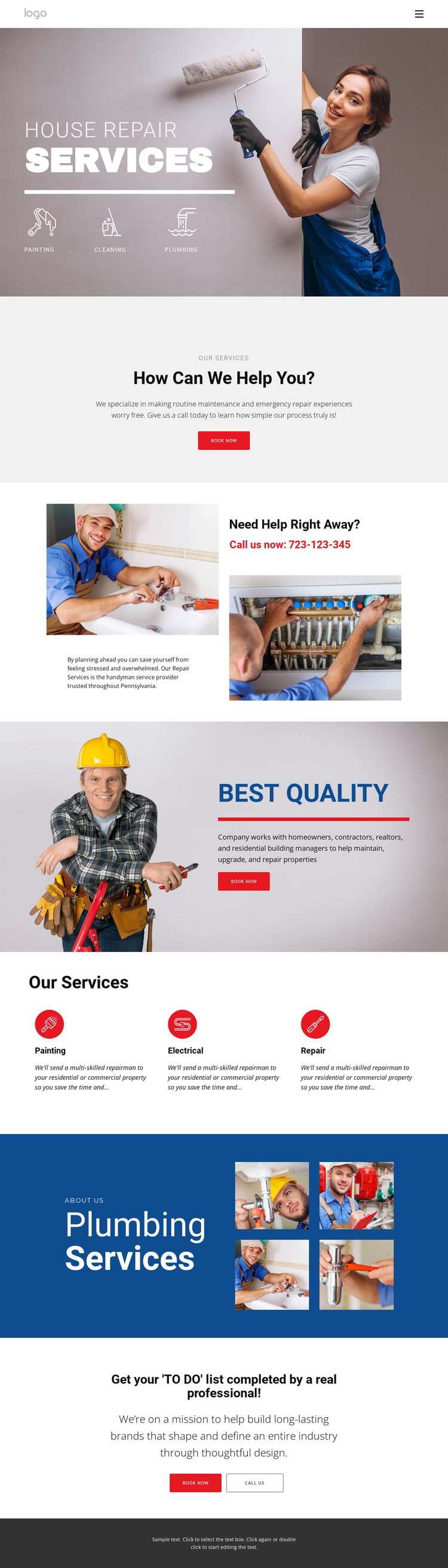 House repair and contruction Html Website Builder