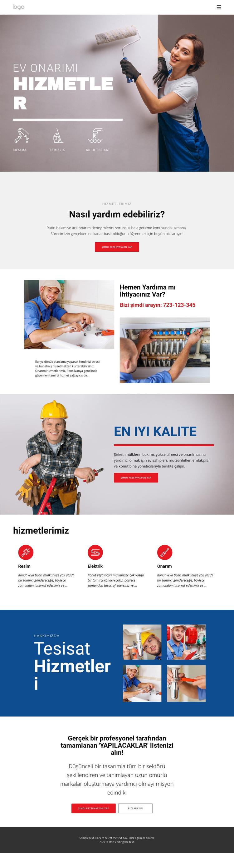 Ev onarım ve inşaatı Web Sitesi Şablonu