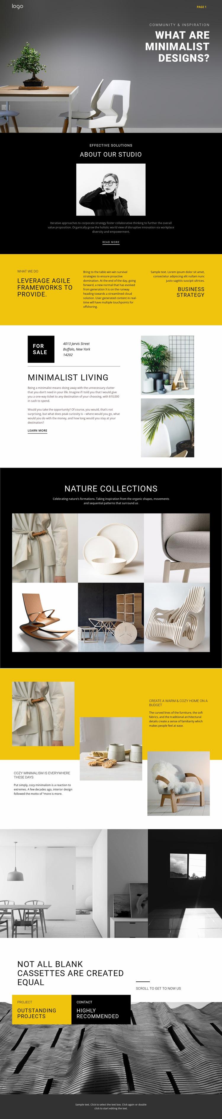 Minimalist designer interiors Website Builder