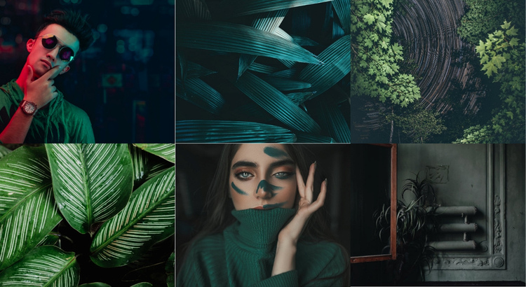 Green style gallery One Page Template