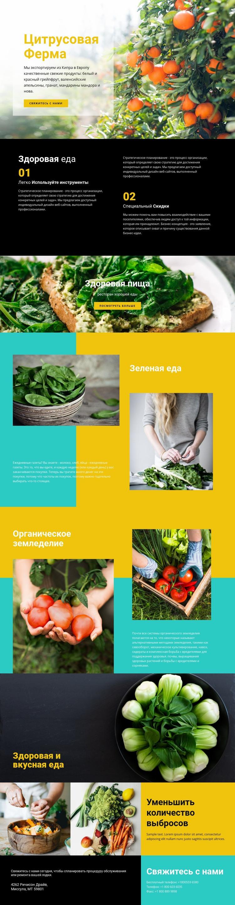 Здоровая и свежая еда HTML шаблон