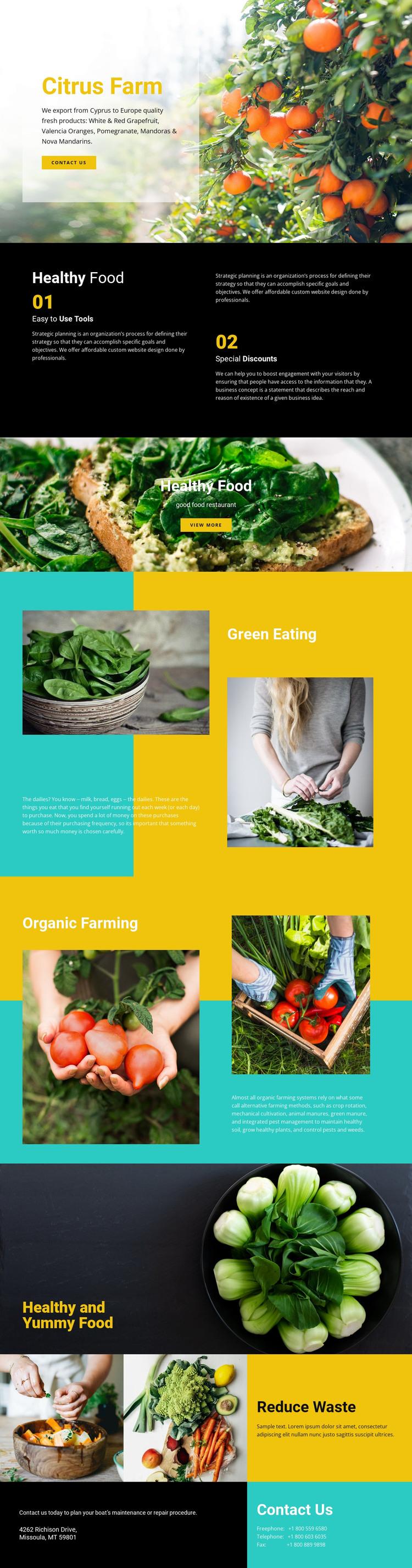 Healthy and fresh food Web Design