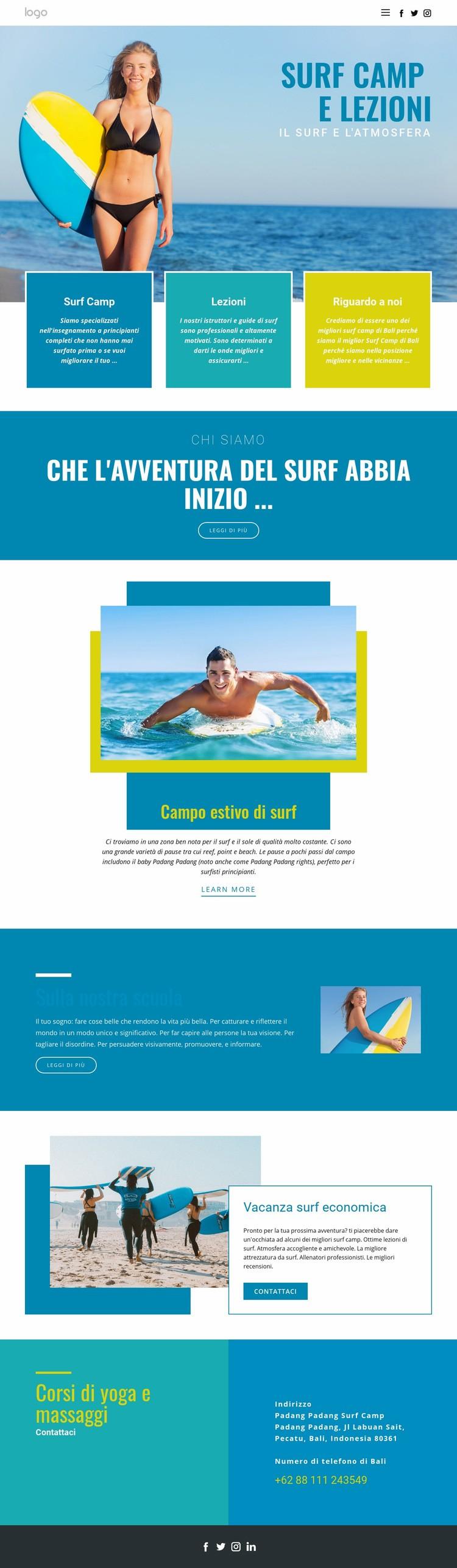 Camp per gli sport estivi Modello di sito Web