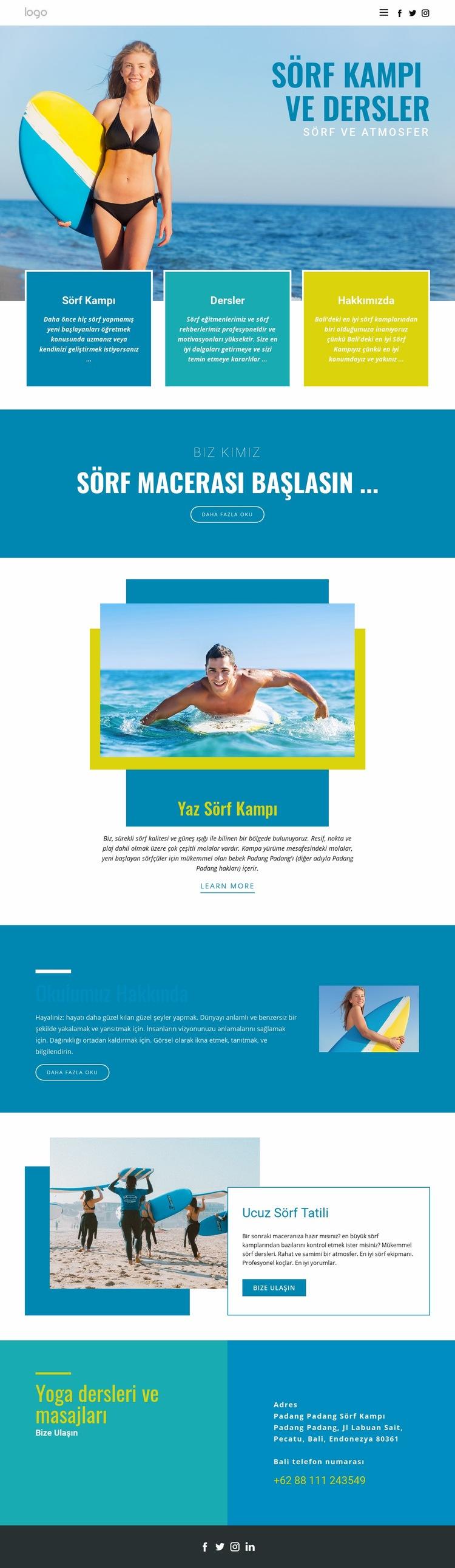 Yaz sporları kampı Web Sitesi Şablonu