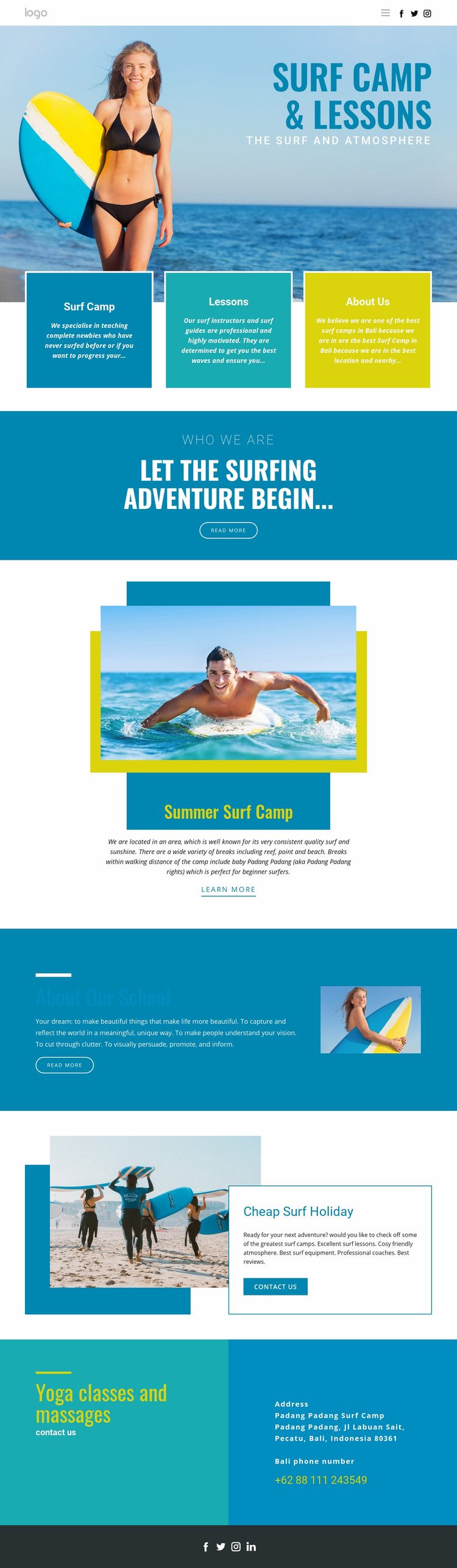 Camp for summer sports Web Page Design