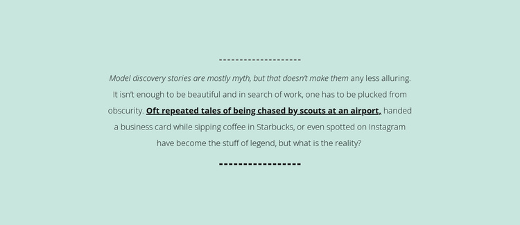 Text on mint background Website Template