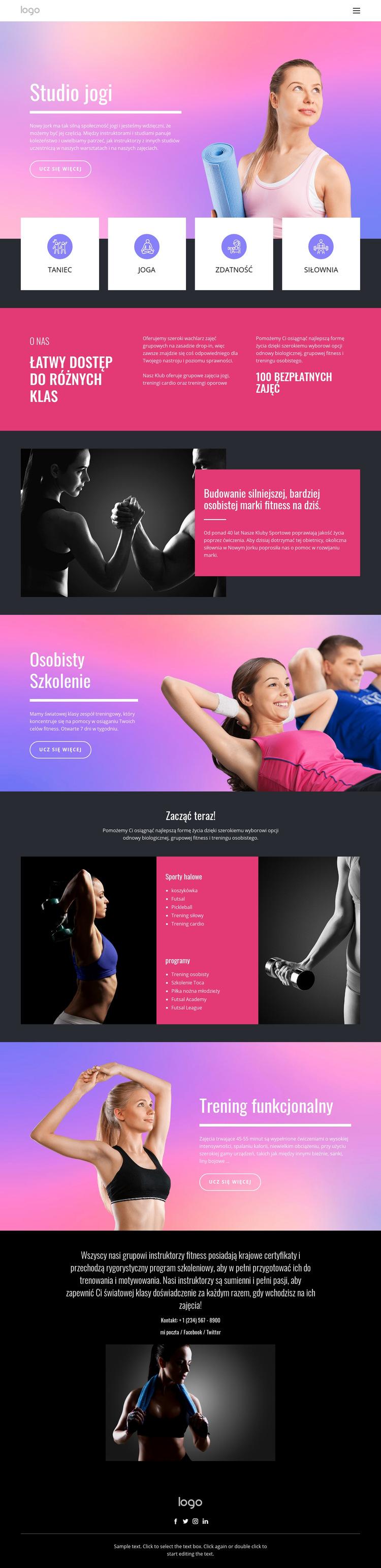 Studio jogi i inne sporty Szablon witryny sieci Web