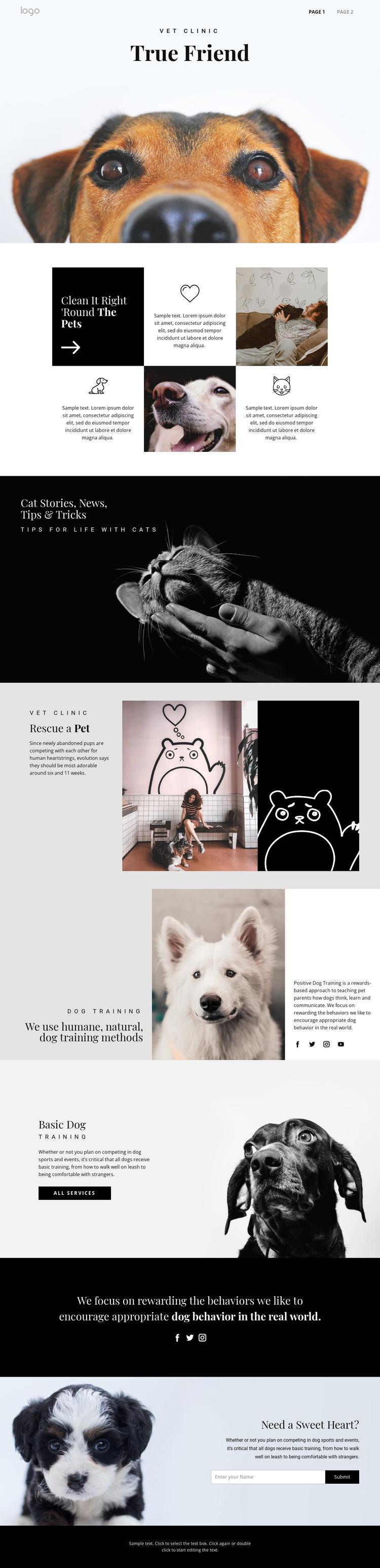 Finding your true friend pet HTML Template