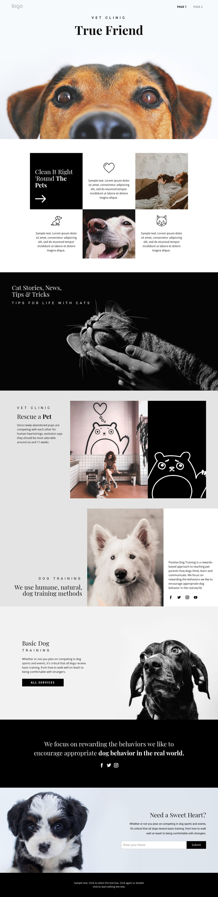Finding your true friend pet One Page Template