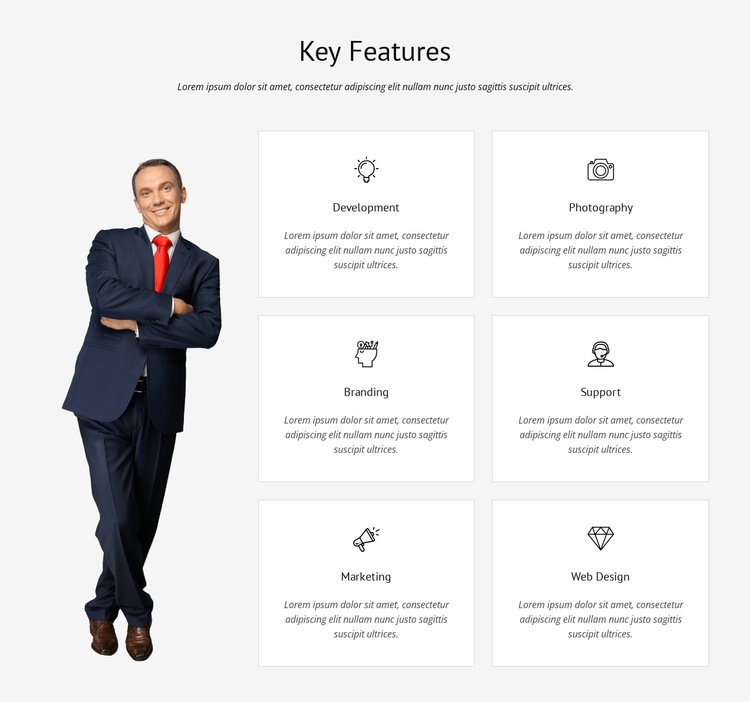 List of key features HTML5 Template