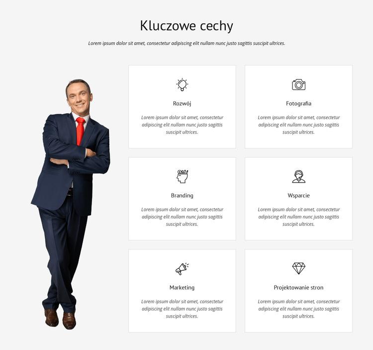 Lista kluczowych funkcji Szablon witryny sieci Web