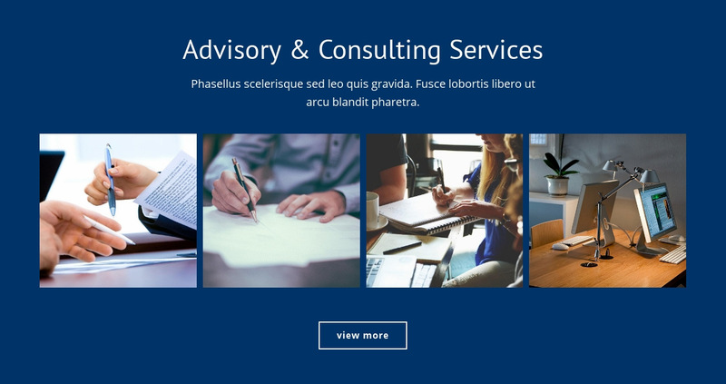 Advisory and consulting services Web Page Designer