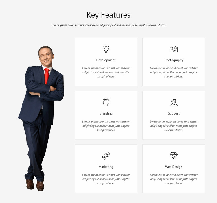 List of key features Website Mockup