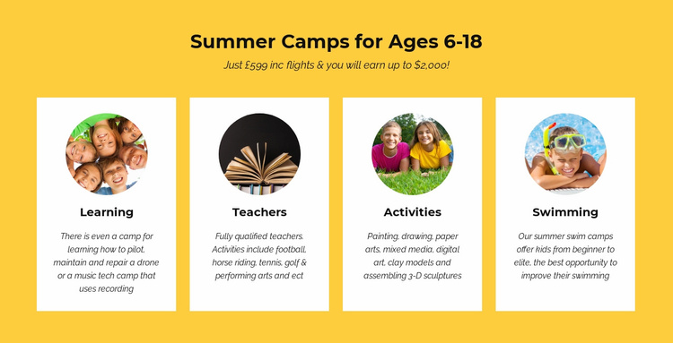 Education summer camps Landing Page