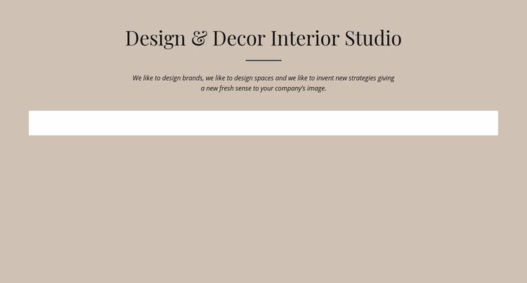 Design and decor interior studio Landing Page