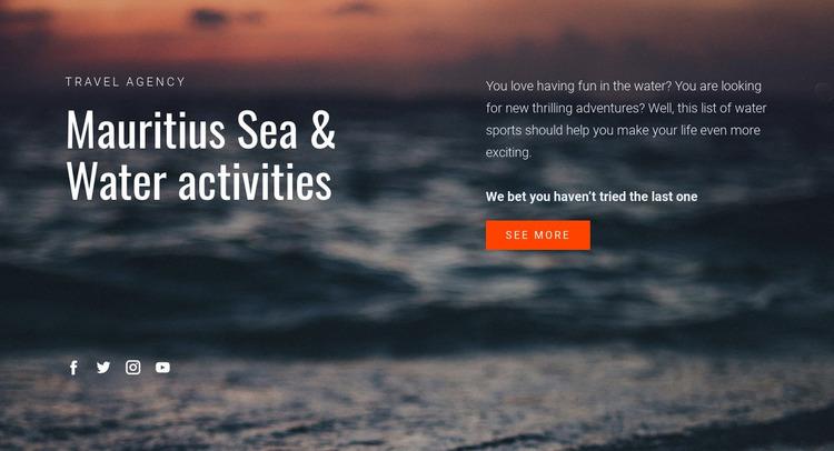 Water activities Website Mockup