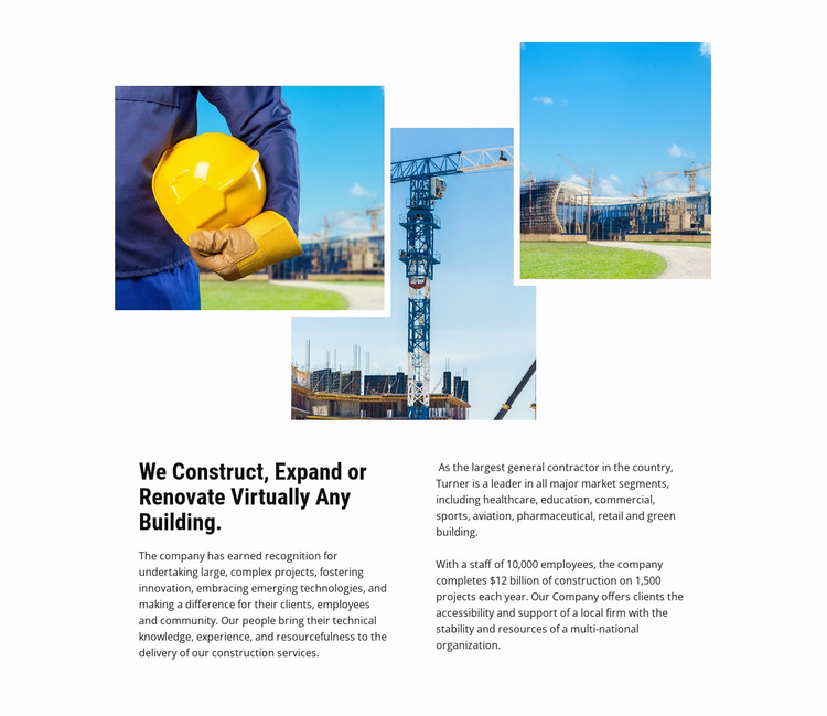 The largest industrial project Landing Page