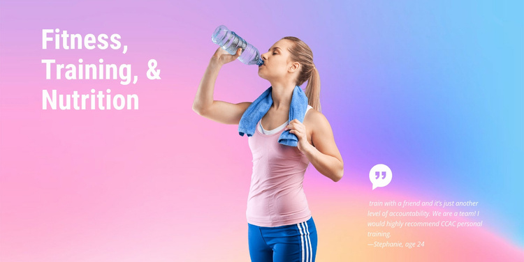 Fitness, training and nutrition Website Template