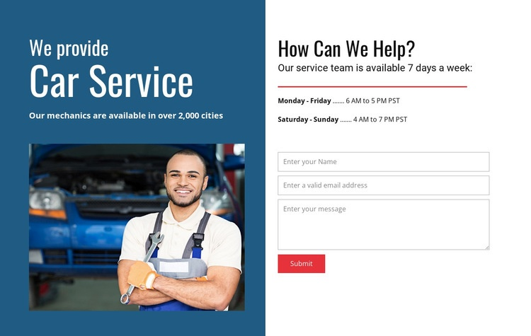 We provide car service Html Code Example