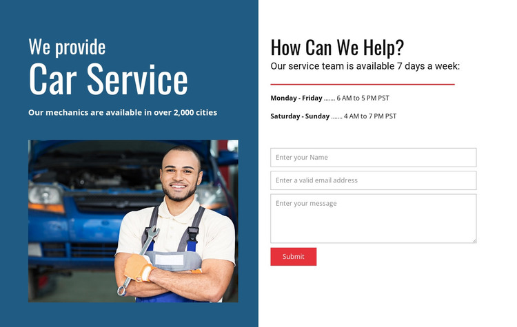 We provide car service HTML Template