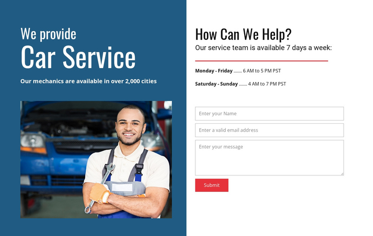 We provide car service One Page Template